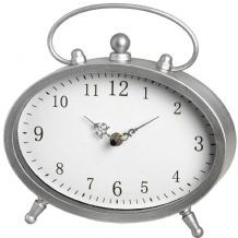 Silver Oval Mantel Clock With Handle